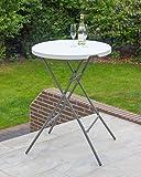 Vanage Gartentisch klappbar in weiß - runder Bistrotisch / Stehtisch für Garten, Terrasse und Balkon - 80 x 80 x 110 cm - 6