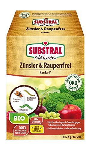 Naturen Bio Zünsler-und Raupenfrei XenTari, Hoch wirksames biologisches Spritzpulver gegen Buchsbaumzünsler und Schadraupen, 8x2,5g Portionsbeutel -