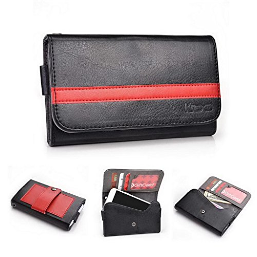 Kroo universale per smartphone in pelle con passante per cintura per Motorola Moto E Phone multicolore Black and Red