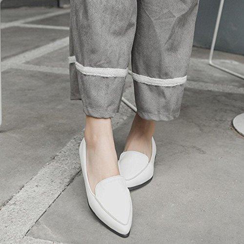 TAOFFEN Damen Leisure Ohne Verschluss Flach Pumps Gem¨¹tlich Loafers Schuhe Weiß