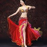 Wangmei Bauchtanz Kostüme Mit Strass Exquisite Stickerei Tanzkleidung für Frauen Performance, Red, XL