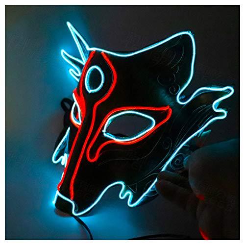 Werwolf Lustige Wolfskopf Vollgesichts Glow Mask Funny Game Kaltlicht Cosplay Halloween Kostüm,Blue-OneSize (Teufel Kostüm Steam)