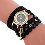 Sonnena Damen Armbanduhren, Mode Glockenspiel Diamant Armbanduhr Damenuhr Klassik Lederarmband Quarzuhr Armband Handgelenk Uhr Geburtstag Geschenk (Schwarz)