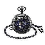 Infinito U- Reloj de Bolsillo de Movimiento Mecánico Escala Numeral Romano con 2 Cadenas