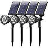 [4 Pack] Mpow 6 LED Lampe Solaire Extérieur, Eclairage ExtérieurEtanche Lampe Jardin Réglable avec Panneau Solaire 180° Spot Solaire Extérieur pour Jardin, Cour, Extérieur, Chemin, Allée, Maison