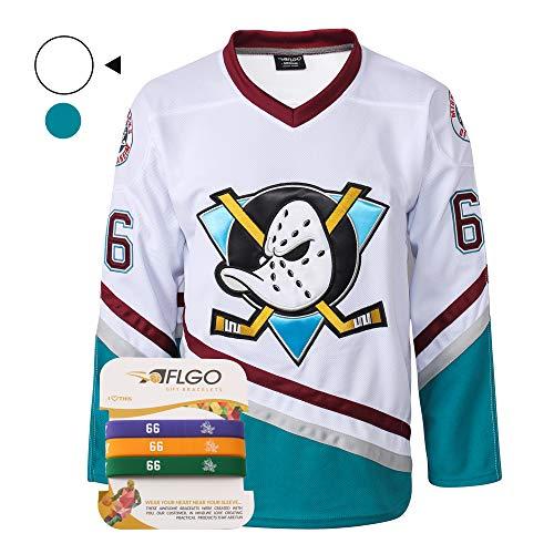 AFLGO Bombay #66 Mighty Ducks Eishockey Trikot S-XXXL grün Gordon genäht Kleidung Überwurfheck Top Bonus Combo Set mit Armbändern, weiß, Medium