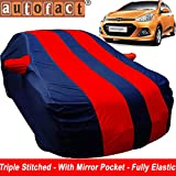 Autofact Car Body Cover for Hyundai Grand I10 (Mirror Pocket , Premium Fabric , Triple Stiched , Fully Elastic , Red / Blue Color)