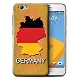Custodia/Cover/Caso/Cassa Rigide/Prottetiva STUFF4 stampata con il disegno Nazioni bandiera per HTC One A9s - Germania/tedesco