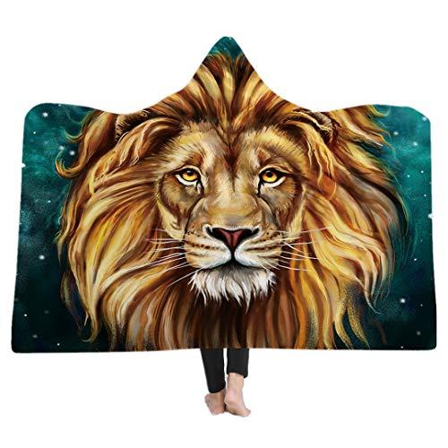 nda Mit Kapuze Decke für Erwachsene Kind Gothic Süßes Tier Modus Sherpa Fleece Wearable Decke Mikrofaser Bettwäsche (König der Löwen, 150x200cm) ()