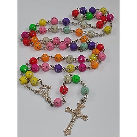 Multi colore Santo Rosario perline di cristallo Croce Collana In Argento Tono Effectz Sterling - Tono Multicolore In Vetro