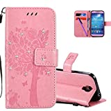 COTDINFOR Samsung S4 Hülle für Mädchen Elegant Retro Premium PU Lederhülle Tasche mit Magnet Standfunktion Schutz Etui für Samsung Galaxy S4 Pink Wishing Tree with Diamond KT.