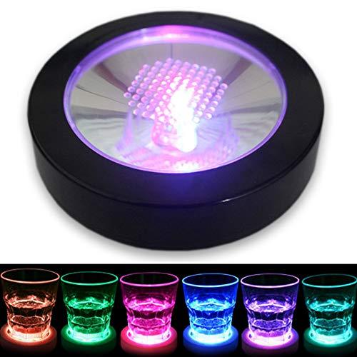 Light Flash Cup Mat, LED Licht Up Untersetzer Gravity Sensor Runde Form Atmosphäre Lampe Dekoration Glow Bar Club Party Küche Free Size Black and Colorful Light