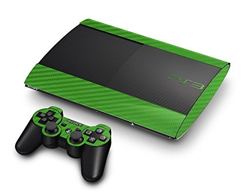 Sony PlayStation 3 Super Slim Skin (3rd Gen) - NEW - 3D CARBON FIBER LIME GREEN - Air Release vinyl decal faceplate mod kit by System Skins by System Skins Lime Green Faceplates