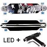 FunTomia® Freerider Longboard 42 Pollici (107cm) 9 PLY di acero canadese / ABEC-11 cuscinetti / ruote 70x51mm