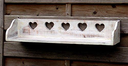 Schönes Wandregal aus Vollholz mit jeder Menge Herz im Shabby Chic Stil - Weiß - auf Alt Getrimmt (Wand Regale, Haken)