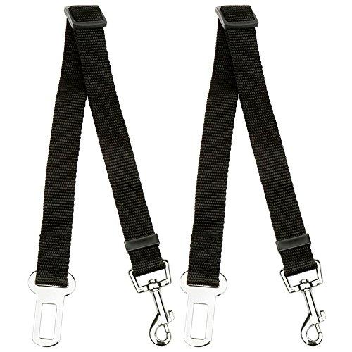 H&S 2 Dog Car Seat Belt Lead Restraint Harness Seatbelt Attachment Clip Black