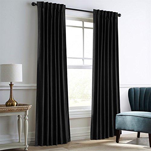 Dreaming Casa Verdunkelungsvorhang Samt Velour Velvet Vorhang Schwarz Blickdicht mit Stangendurchzug oder Schlaufenband 2 Stück 140cm x 240cm (BxH) -