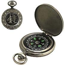 Vintage bronce reloj de bolsillo brújula portátil Flip-Open senderismo Camping Lensatic Brújula al aire libre herramientas de navegación brújula–gran regalo para kids niños
