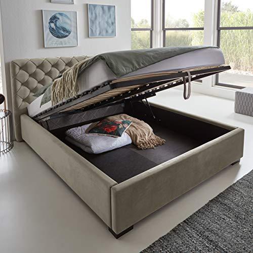 Designer Bett mit Bettkasten ELSA Samt-Stoff Polsterbett Lattenrost Doppelbett Stauraum Holzfuß schwarz (Taupe, 140 x 200 cm)