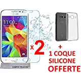 First glass® 2 Vitre en verre trempé + 1 Coque Gel Silicone Samsung Galaxy Core Prime VE G360 G361 Premium Anti Chocs, Anti empreintes