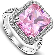 EVER FAITH Women's 925 Sterling Silver 5 Carats Radiant Cut CZ Elegant Ring