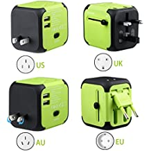 Adaptador Viaje Enchufe Universal y cargador todo-en-uno viaje del mundo es adaptador de corriente universal,con doble USB y Seguridad de Fusibles para los enchufes de pared de Estados Unidos Inglaterra Australia Europa - (Verde)