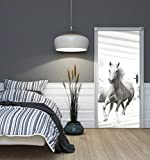WeltDerBilder Türaufkleber selbstklebend - weiße Pferde - (91 x 211cm) Türposter Türtapete - 10 Motive zur Auswahl