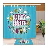 AMDXD Polyester Duschvorhang Teppich Toilettenmatte Set Frohe Ostern Design Badewanne Vorhang für Badezimmer Badewanne Bunt 180x180CM