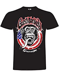Gas Monkey Garage T-Shirt Large Monkey Circle Flag Black