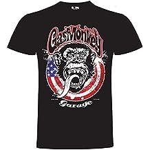 Gas Monkey Garage T-Shirt Large Monkey Circle Flag Black