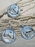 Taler rund 7cm eisblau Silber Winterlandschaft 3Stück per Box