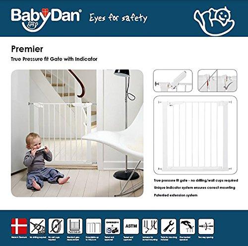 Baby Dan Premier TÜV / GS geprüftes Türschutzgitter / Treppenschutzgitter zum Einklemmen, 99 – 119.3 cm, Weiß – hergestellt in Dänemark - 4