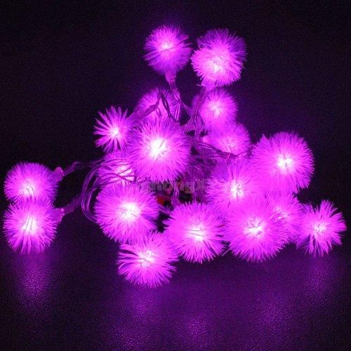 JnDee Pink Blossoms Ball batteriebetrieben LED Lichterkette 2m 20LED-On/Off/Flash Funktionen, perfekt für Weihnachten Hochzeit und Parteien - Pink Ball Blüte