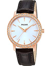 Pulsar Watches Women's Classic Rose Gold Tone Stone Set Dress Watch With Brown Strap