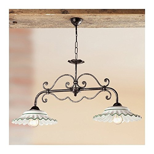 Lampe unruh-2 leuchten in eisen mit keramischen