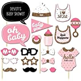 Veewon 20 Stück Fotorequisiten Babydusche Baby Shower Party Baby Flaschen Masken Photo Booth Props Neugeborene Dame Girl Partydekoration