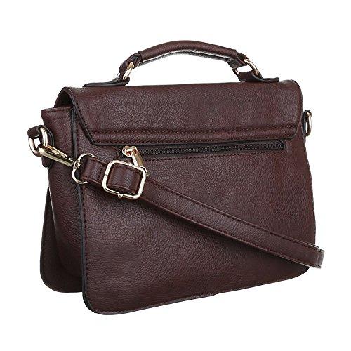 Damen Tasche, Schultertasche, Kleine Handtasche Mit Nieten, Kunstleder, TA-9540-1 Dunkelbraun