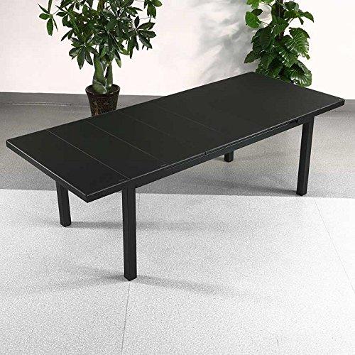 Table Beatrice et 6 chaises Abigail - NOIR | Table extensible 240cm pour l'intérieur et l'extérieur