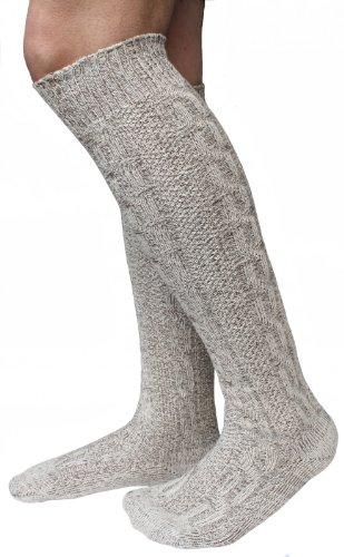 Alpenlife Lange Herren Trachten Socken, Kniebund Socken, Strümpfe für ihre Lederhose, 1 Paar beige/meliert (M(43-45))