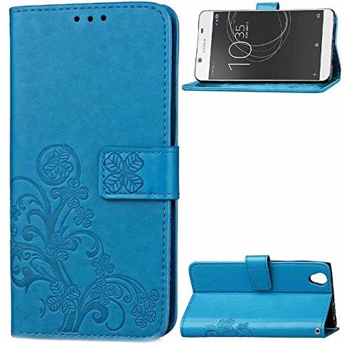 Xperia XZ Premium custodia, floreale custodia a portafoglio in pelle PU con mano cinturino da polso, fiore Flip in pelle per Sony Xperia XZ Premium case, Rose, iPhone X Blue