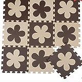 H Cadeau Bunt Puzzlematte Schaumstoff Puzzle Matte Kinder Spielteppich Spielmatte Baby krabbeln Boden Schlafzimmer Yoga Turnhalle 30*30cm 9 teilig (Braun Blumen)