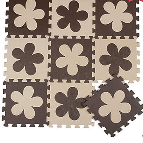 H Cadeau Bunt Puzzlematte Schaumstoff Puzzle Matte Kinder Spielteppich Spielmatte Baby krabbeln Boden Schlafzimmer Yoga Turnhalle 30*30cm 9 teilig (Braun