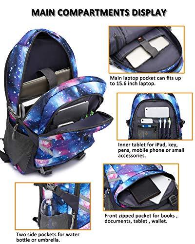 E-ZONED Zaino Scuola Superiore Per PC 15.6 Pollici da Donna e Uomo, Backpack Portabile Casual Rucksack per Laptop Universita Viaggio con Presa Ricarica USB (Galassia) - 4