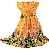 ODJOY-FAN elegante donne stampa chiffon sciarpa- scialli -donne colore puro lungo moda morbida dell'involucro signore sunscreen voile sheer matrimoni, feste, spiaggia- scialle foulard