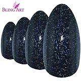 False Nails by Bling Art Black Gel Almond Stiletto 24 Fake Long Acrylic Tips