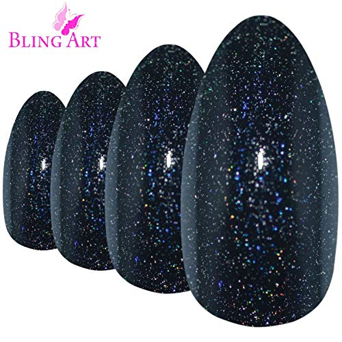 Faux Ongles Bling Art Noir Gel 24 Stiletto Longue Faux bouts d'ongles acrylique avec colle