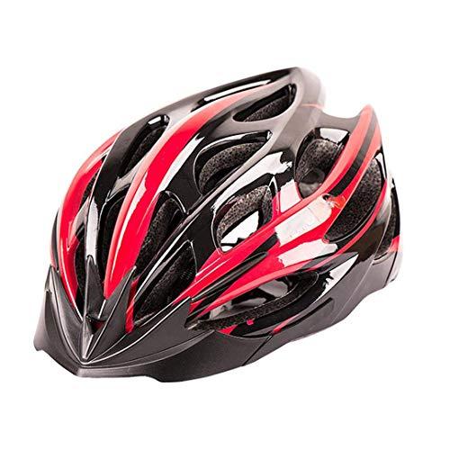 DEHPOOG Ultraleichter Fahrradhelm 23 Air Vents Fahrradhelm IN-Mould MTB Rennrad Mountainbike Helm Fahrradhelm 55-61 cm Red Black M (55-58cm)