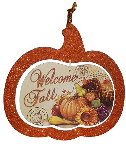 Greenbrier Sparkly Wandschild Zum Aufhängen für Tür Klassenzimmer Herbst/Thanksgiving Tür Dekorationen Mottoparty Decor für Home/Außen Welcome Fall (Thanksgiving Klassenzimmer Tür)