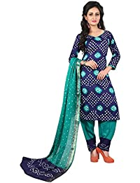 Taboody Empire Vanilla Blue Satin Cotton Handi Crafts Bandhani Work With Straight Salwar Suit For Girls And Women