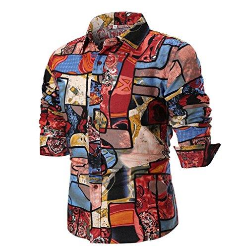 Tomatoa Shirt Herren Langärmelig Patchwork Rundhals Oberteile Slim Fit Casual Sweatshirt Modern super Qualität Herren Langarmhemd Bluse Hemden Tops Langarmshirt Langarm Sweatshirt (M, Rot)
